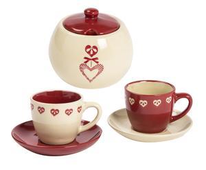 Service à café - rouge et crème