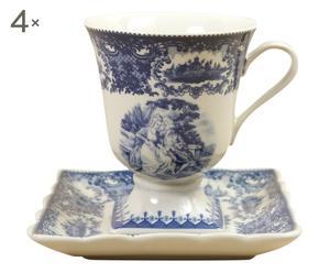 4 Tasses et 4 soucoupes AZUR II - blanc et bleu