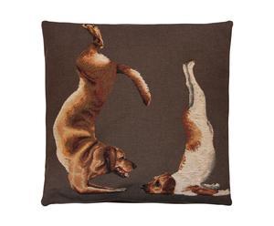 Coussin yoga dogs coton et plumes, marron - 45*45