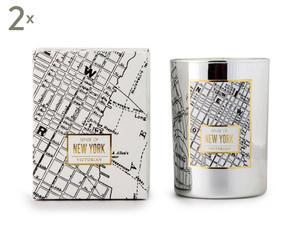 2 Bougies parfumées NEW YORK, argenté et noir - 45H