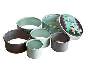 5 Emporte-pièces - vert pastel et gris