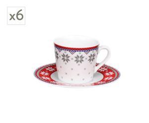 6 Tasses à café et soucoupe Scandica, porcelaine - 260mL