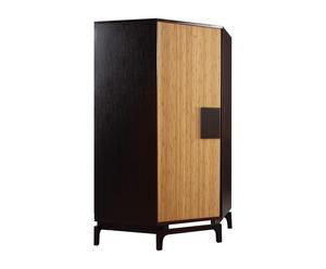 Armoire d'angle KOKESHI chêne et bambou, Chocolat et naturel - H190