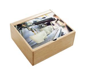 Boîte à capsules de café Verre et bois, Multicolore - L23