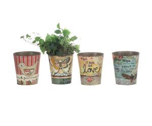 4 pots à fleurs, étain