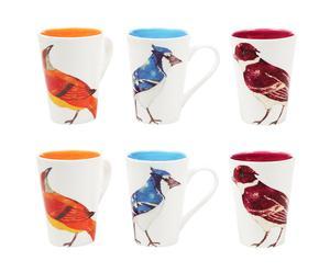 6 mugs oiseaux, dolomite