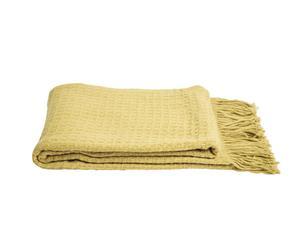 Plaid cachemire et laine gaufrée, vert – 127*165
