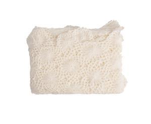 Plaid cachemire et laine crochetée, crème - 127*178