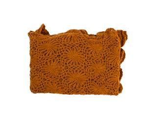 Plaid cachemire et laine crochetée, orange - 127*178