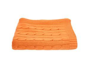 Plaid cachemire et laine tricotée, orange – 127*165