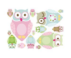 Set di 2 confezioni di wallstickers in vinile Crazy Owl - Rosa