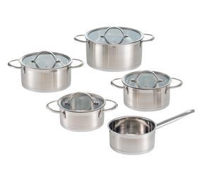 Set di pentole in acciaio e ceramica Topf-Set satinato