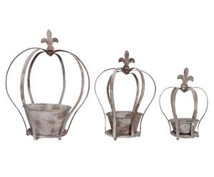 Set di 3 portavasi in metallo anticati - Crown
