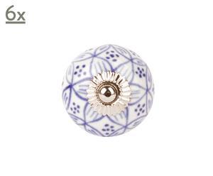 Set di 6 pomelli in ceramica e ottone Oriental - D 4 cm