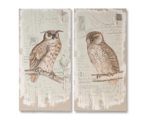 Composizione di 2 stampe in legno e lino Flor de lis