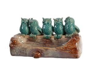 Mangiatoia per uccelli in argilla Gufetti - 36X22X17 cm