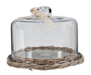 tortiera in vetro e base in vimini lisa - d 22/H 15 cm