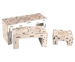 Set di 3 portacandele in legno - Klaus