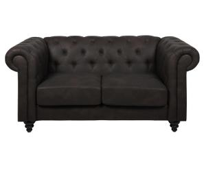 divano a 2 posti stile chester DIVINA nero - 164x78x88 cm