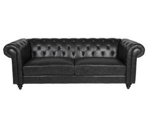 divano a 3 posti stile chester DIVINA nero - 219x78x88 cm