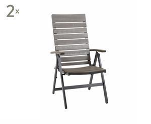 Set di 2 sdraio in alluminio e legno FIGARO - 58x110x70 cm
