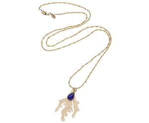 Collana placcata oro con pendente e calcedonio Corinne blu
