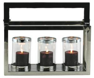 lanterna in alluminio e vetro a 3 spazi - 39x16x31 cm