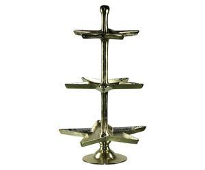 etagere a 3 ripiani in alluminio argento - h 97 cm