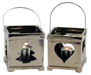 set di 2 lanterne in ceramica argento - 14x15x14 cm