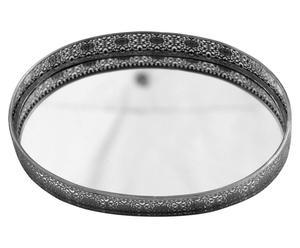 vassoio in metallo e specchio argento - 49x37 cm
