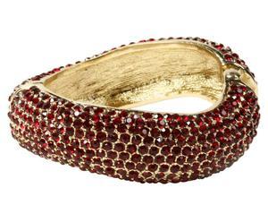 Bracciale in metallo anallergico e strass Priscilla - rosso