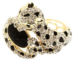 Bracciale in metallo anallergico e strass Leopard