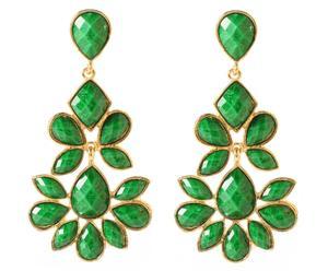 Coppia di orecchini in metallo anallergico e resina Nello - verde