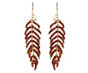 Coppia di orecchini in metallo anallergico e strass Leaf - rosso