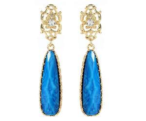Coppia di orecchini in metallo anallergico e resina Tino - blu
