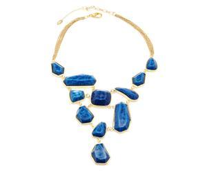 Collana in metallo anallergico e resina Heidi - blu