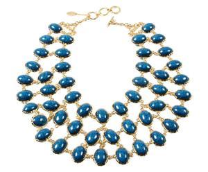 Collana double-face in metallo anallergico Hampton - blu/turchese
