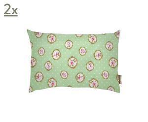Set di 2 cuscini rettangolari in cotone Romantic Rose verde - 22x34 cm
