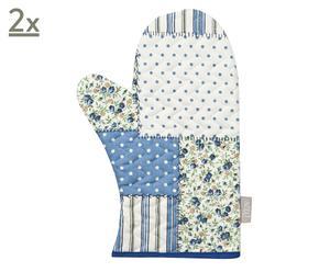 Set di 2 guantoni da forno in cotone Patchwork blu - 18x30 cm