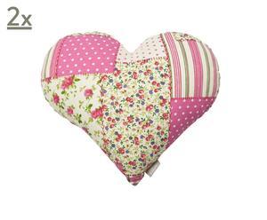 Set di 2 cuscini a cuore in cotone Patchwork rosa - 35x40 cm