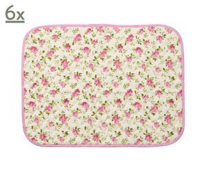 Set di 6 tovagliette in cotone Patchwork rosa - 35x50 cm