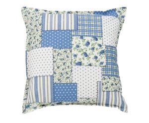 Cuscino quadrato in cotone Patchwork blu - 50x50 cm