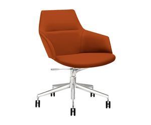 Sedia in acciaio e poliestere con rotelle ASTON CONFERENCE rosso&arancione - 65x87/98x64 cm