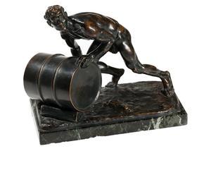 antica statua in bronzo Maennlicher Akt di Fritz Zerritsch 1925
