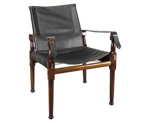 Sedia da regista in legno e pelle - 55X56X89 cm