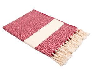 telo in cotone tessuto a mano caterine rosso - 100x185 cm