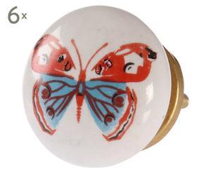 Set di 6 pomelli in ceramica Butterfly