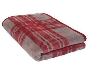 Plaid in fibra mista di cotone e poliacrilico London rosso - 200x150 cm