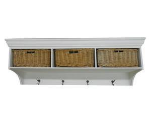 Mensola appendiabiti con 3 ceste a cassetto in legno Marie - 120x30x38 cm