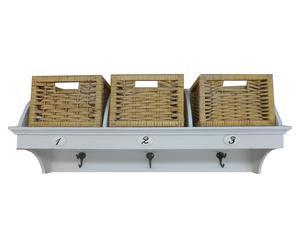 Mensola appendiabiti con 3 ceste a cassetto in legno Flup - 76x22x33 cm
